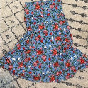 Floral Print Azure Skirt - LuLaRoe
